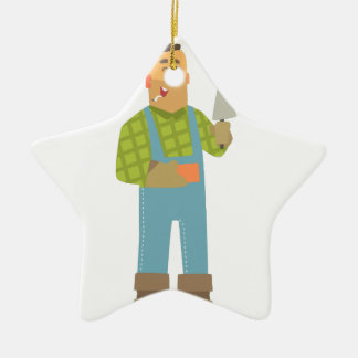 Builder With Brick And Trowel On Construction Site Ceramic Ornament