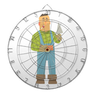 Builder With Brick And Trowel On Construction Site Dartboard