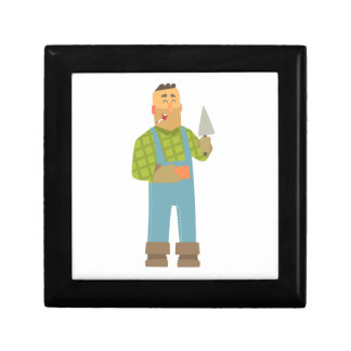 Builder With Brick And Trowel On Construction Site Gift Box