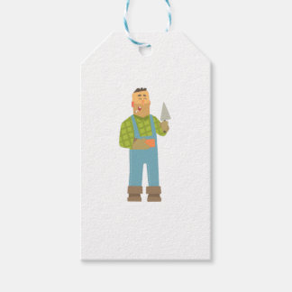 Builder With Brick And Trowel On Construction Site Gift Tags