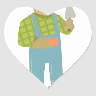 Builder With Brick And Trowel On Construction Site Heart Sticker