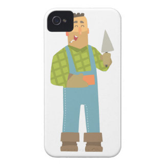 Builder With Brick And Trowel On Construction Site iPhone 4 Cover