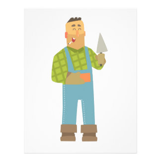Builder With Brick And Trowel On Construction Site Letterhead