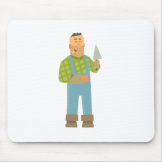 Builder With Brick And Trowel On Construction Site Mouse Pad