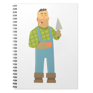 Builder With Brick And Trowel On Construction Site Notebook