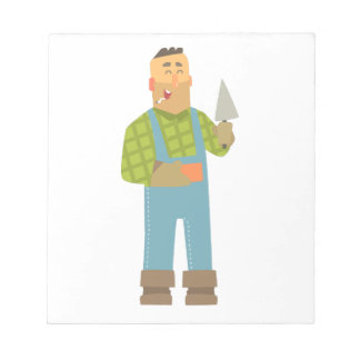 Builder With Brick And Trowel On Construction Site Notepad