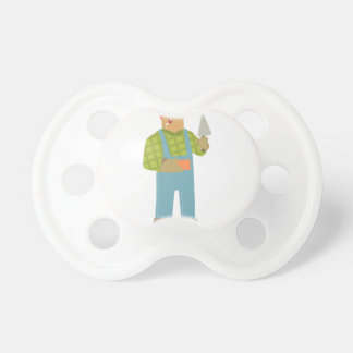 Builder With Brick And Trowel On Construction Site Pacifier