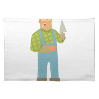 Builder With Brick And Trowel On Construction Site Placemat