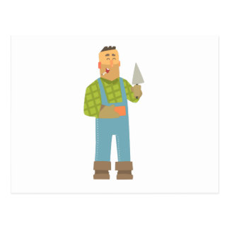Builder With Brick And Trowel On Construction Site Postcard
