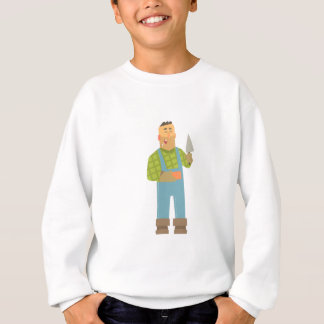 Builder With Brick And Trowel On Construction Site Sweatshirt