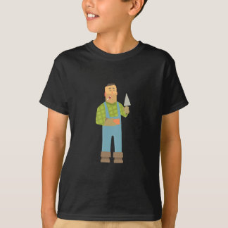 Builder With Brick And Trowel On Construction Site T-Shirt