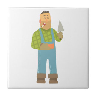Builder With Brick And Trowel On Construction Site Tile