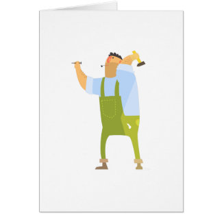 Builder With Hammer And Nails On Construction Site Card