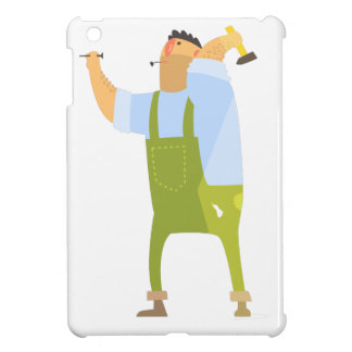 Builder With Hammer And Nails On Construction Site iPad Mini Covers