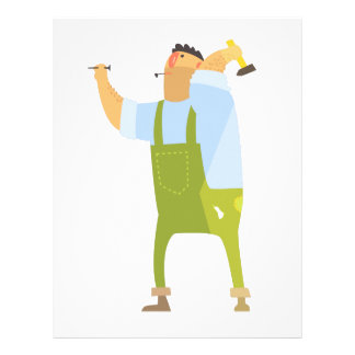 Builder With Hammer And Nails On Construction Site Letterhead
