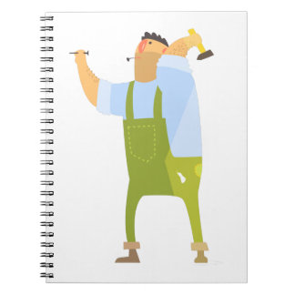 Builder With Hammer And Nails On Construction Site Notebook