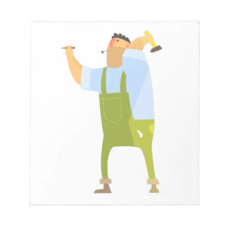 Builder With Hammer And Nails On Construction Site Notepad
