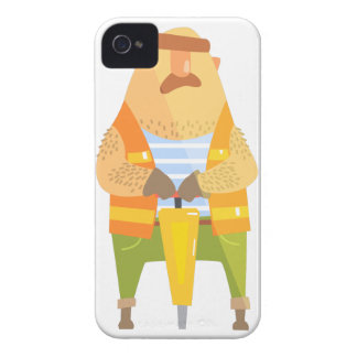 Builder With Jackhammer On Construction Site Case-Mate iPhone 4 Cases