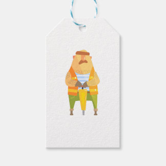 Builder With Jackhammer On Construction Site Gift Tags