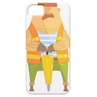 Builder With Jackhammer On Construction Site iPhone 5 Cases