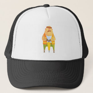 Builder With Jackhammer On Construction Site Trucker Hat