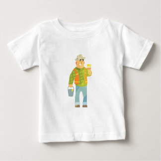 Builder With Paintbrush And Bucket On Construction Baby T-Shirt