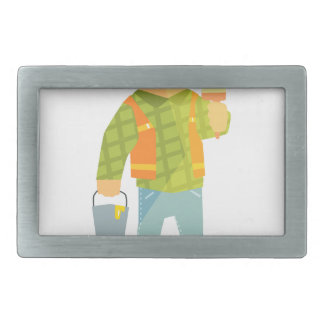 Builder With Paintbrush And Bucket On Construction Belt Buckles