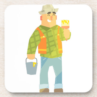 Builder With Paintbrush And Bucket On Construction Coaster