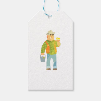 Builder With Paintbrush And Bucket On Construction Gift Tags