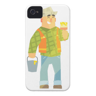 Builder With Paintbrush And Bucket On Construction iPhone 4 Cases