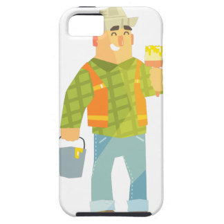 Builder With Paintbrush And Bucket On Construction iPhone 5 Case