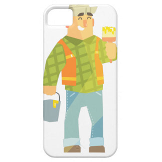 Builder With Paintbrush And Bucket On Construction iPhone 5 Covers
