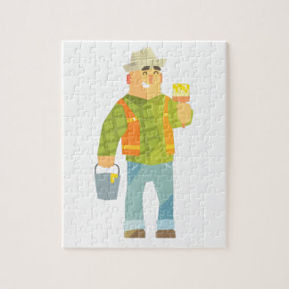 Builder With Paintbrush And Bucket On Construction Jigsaw Puzzle