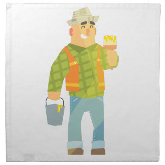 Builder With Paintbrush And Bucket On Construction Napkin