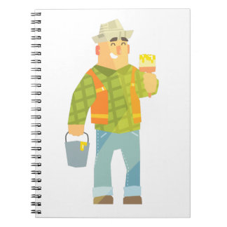 Builder With Paintbrush And Bucket On Construction Notebooks