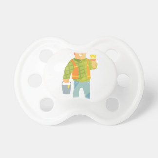 Builder With Paintbrush And Bucket On Construction Pacifier