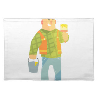 Builder With Paintbrush And Bucket On Construction Placemat