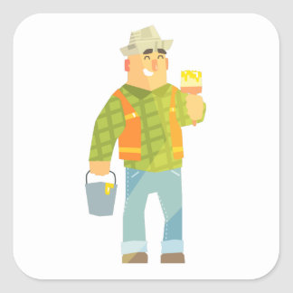 Builder With Paintbrush And Bucket On Construction Square Sticker