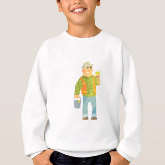 Builder With Paintbrush And Bucket On Construction Sweatshirt