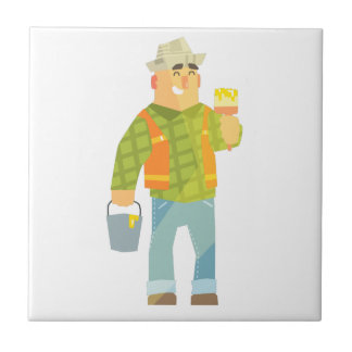 Builder With Paintbrush And Bucket On Construction Tile