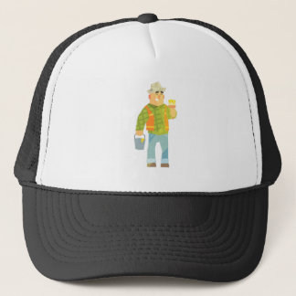Builder With Paintbrush And Bucket On Construction Trucker Hat