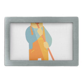 Builder With Painting Roll On Construction Site Belt Buckle