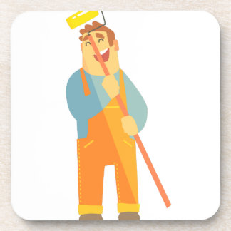 Builder With Painting Roll On Construction Site Coaster