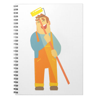 Builder With Painting Roll On Construction Site Notebook
