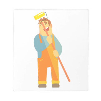 Builder With Painting Roll On Construction Site Notepad