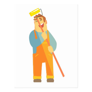 Builder With Painting Roll On Construction Site Postcard