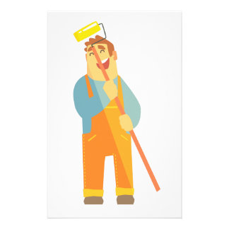 Builder With Painting Roll On Construction Site Stationery