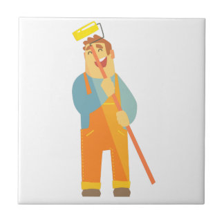 Builder With Painting Roll On Construction Site Tile