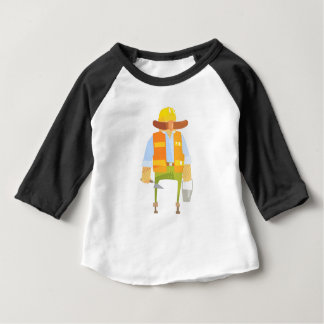 Builder With Trowel And Bucket On Construction Baby T-Shirt