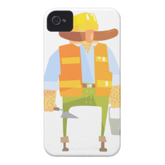 Builder With Trowel And Bucket On Construction Case-Mate iPhone 4 Case